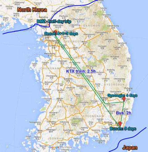 Wudky's Korea trip 2015 itinerary