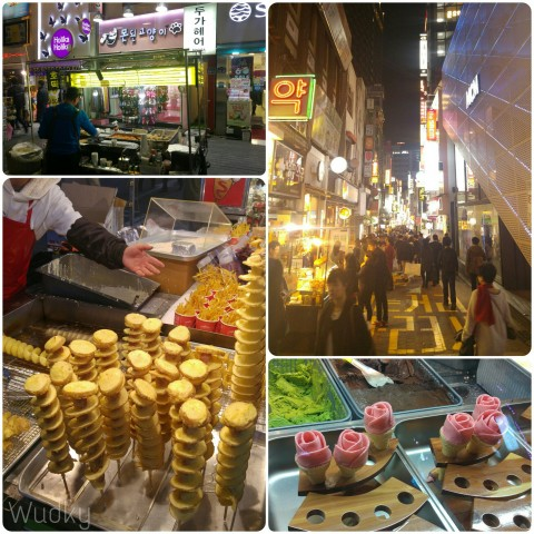 The lively night streets of Myeongdong